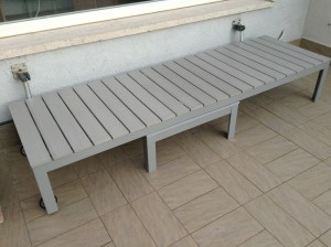Falster sunbed functioning as a bench